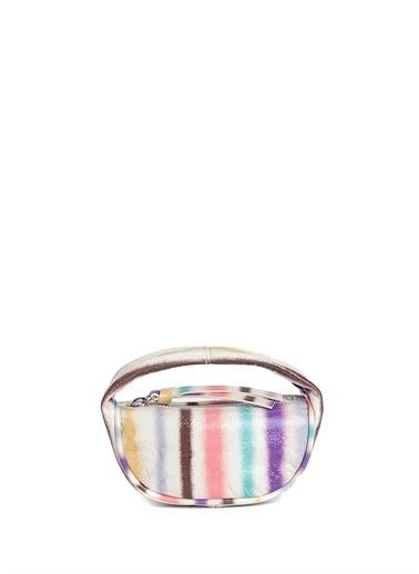 By Far 101630705 Deri Çizgili Renkli Kadın Kulplu Çanta Renkli